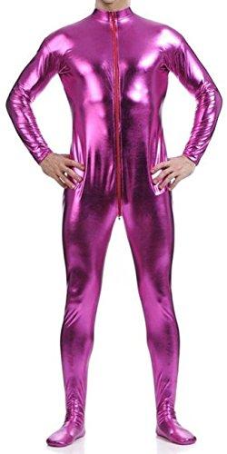 Superman Second Skin Costume (VSVO Men's Shiny Metallic Unitard Dancewear (Small, Pink))