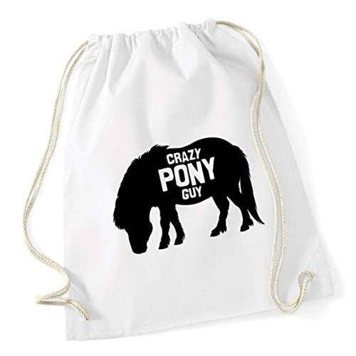 guy x Cotton Crazy Bag Drawstring Gym 12 46cm 37cm Sack School litres pony HippoWarehouse White Kid xTEnwPP