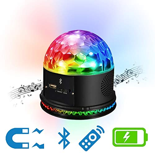 Technical Pro DJ Light, Magnetic, Rechargeable, 9 Color LED Bluetooth Speaker Rotating Magic Ball Stage Light Sound Activated with Remote Control MP3 USB and Bluetooth Playback for Disco Club Party