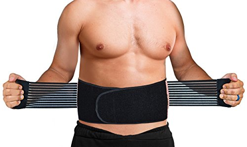 Copper Back Support Brace - Breathable Mesh & Dual Adjustable Straps - Anti Microbial - Helps Lumbar Pain, Back Pain, Lower Back Support (L/XL Navel: 33