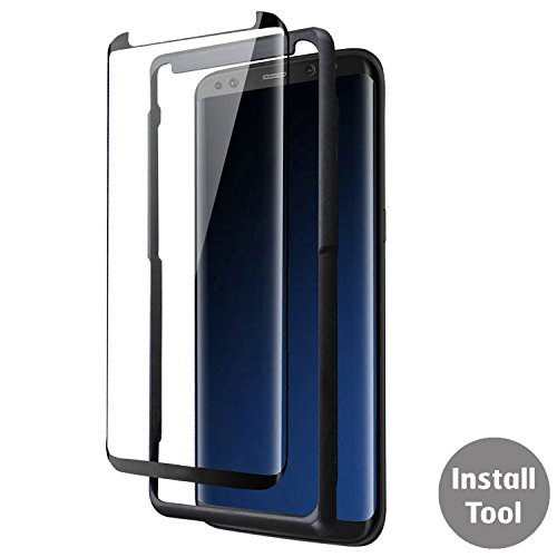 Price comparison product image Samsung S8 Case Friendly Screen Protector Glass - Black - 9H Tempered Glass - Samsung Galaxy S8 - Case Compatible - Olixar Easyfit - Black + Installation Tray