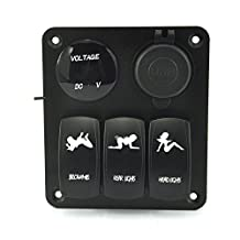 QUWEI Waterproof Marine/Boat Car Switch Panel 3 Gang with 1 Charger With 2 USB Slot and a Voltage Monitor Blue LED Light 5pin On/off Rocker Switch