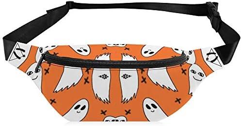 オレンジ色のゴーストハロウィーン ジッパーウエストバッグpu耐摩耗性防水フィットネスフィットネスショッピングランニングと乗馬のウエストバッグ