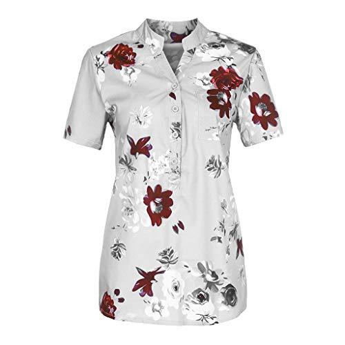(TIFENNY_Shirts for Women Flower Printing Pocket Plus Size Short Sleeve Blouse Lightweight Easy Tops Shirt Blouse White)