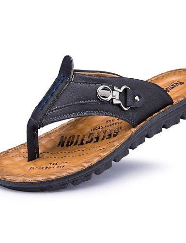NTX/ Men's Shoes Casual Leather Flip-Flops Black / Blue / Khaki dark blue-us6-6.5 / eu38 / uk5-5.5 / cn38 MZFL06dV6Q