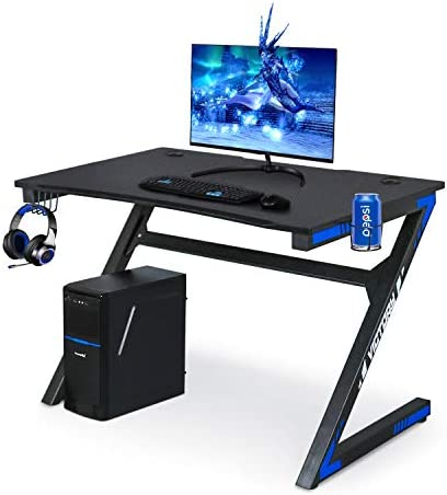 Gaming Computer Desk 46 Inch Large Gaming Table Z Shape Black Racing Table Student Desk