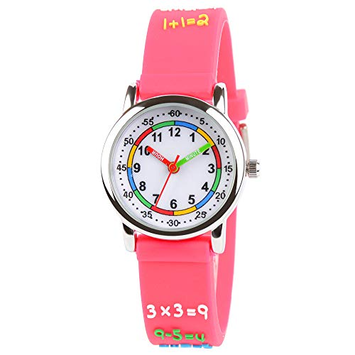 (Venhoo Kids Watches 3D Cute Cartoon Waterproof Silicone Children Toddler Wrist Watch Time Teacher Birthday Gift for 3-10 Year Boys Girls Little Child (Metal Red Number))