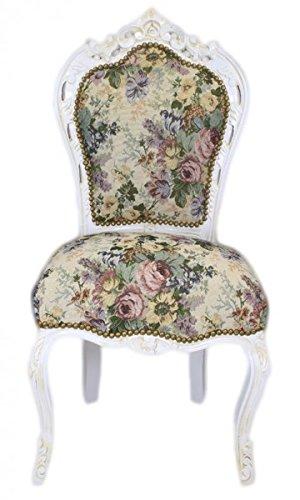 Casa Padrino Barock Esszimmer Stuhl Blumen Muster / Antik Weiss ...