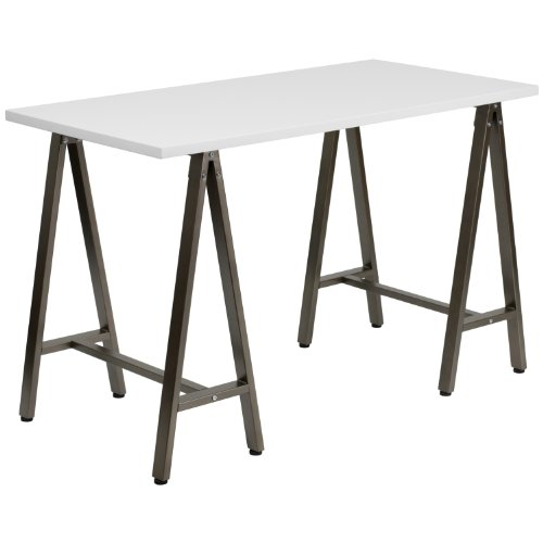 Flash Furniture White Computer Desk with Brown Frame