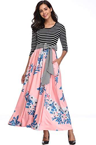 kyrakiss Womens Striped Floral Print 3/4 Sleeve Tie Waist Maxi Dress with Pockets (Black,Pink,Red,Coffee,S M L XL 2XL)