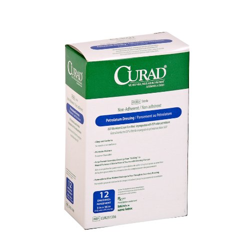 medline CUR251180 Curad Sterile Latex Free Petrolatum Gau...