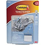Command Small Clear Wire Hooks with Clear Strips (20 Hooks, 24 Strips)
