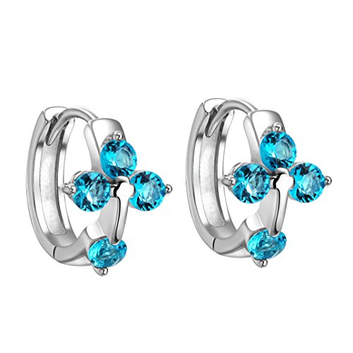 Holy Cross Lucky Charms Silver-Tone Aqua Blue Sparkling Crystals Fashion Earrings (Beautiful Crystal Cross Earrings)