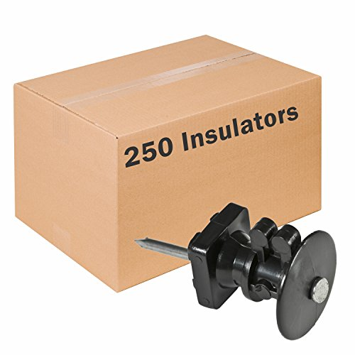 Wood Post Electric Fence Insulators (Red Snap'r IWKNB-Z Z Insulator with Double-Headed Nails, 250 Pack)
