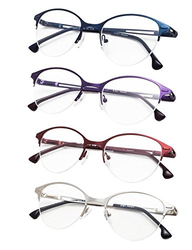 4-Pack Half-Rim Cat-eye Style Reading Glasses with Spring Hinges