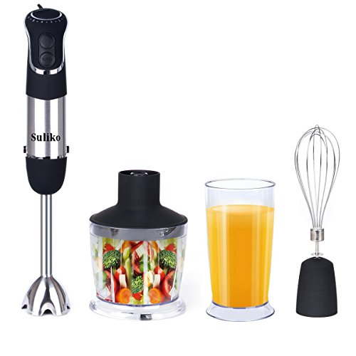 Hand Immersion Blender,850W Powerful 4-in-1 Smart Stick Multifunctional Blender With Chopper, Whisk, Beaker Attachments,6 Speed Soft-Touch Rubberized Hand Blender