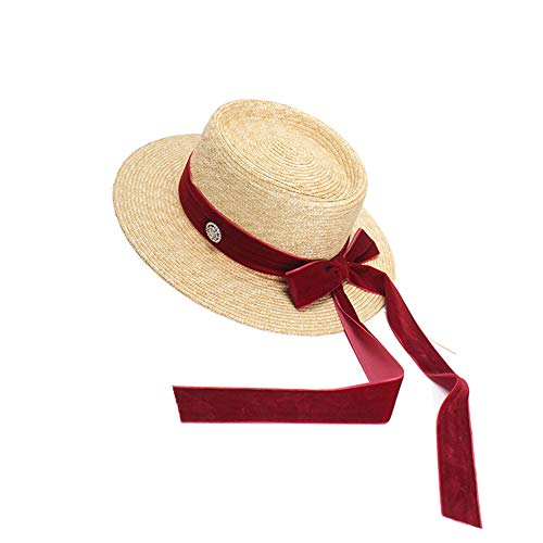 Summer Hand-Made Straw Hat Bow Fashion Flat Top Hat Bump Top Sunshade Hat for Woman Burgundy