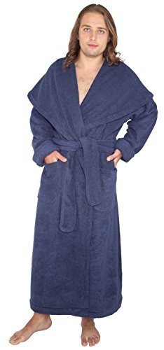 Arus Men's Monk Robe Style Full Length Long Hooded Turkish Terry Cloth Bathrobe, Large, Navy Marine
