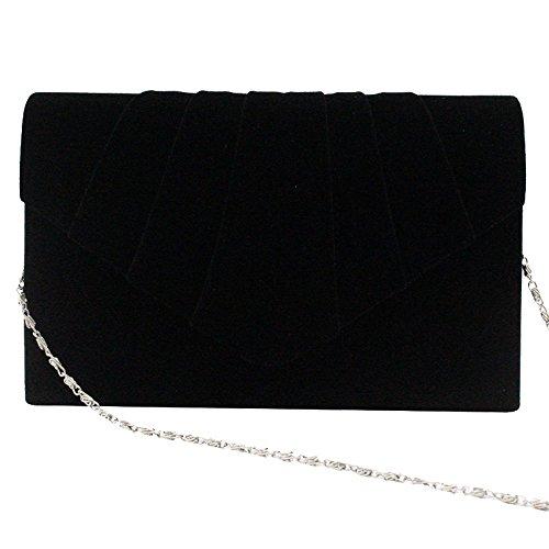 Clutch Party Envelope Prom Handbag Bag Bag Ladies Purse Black Women Shoulder Wedding Wocharm Suede Evening Crossbody Bridal 7IApq