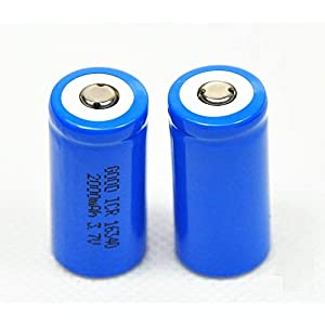 ON THE WAYÂ2 Pcs Cr123a 16340 2000mah Li-ion 3.7v Rechargeable Battery (Blue)