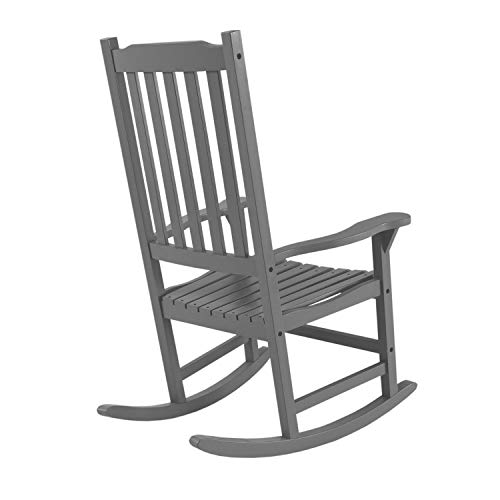 QQWWRE Outdoor Indoor Rocking Chair, Black   Adult-Size, Wooden Rocking Chairs Weather Resistant for Porch, Patio, Living Room, Porch Rocker (Color : Gray)