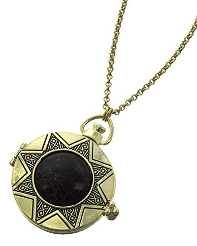 Star Sun Magnifying Necklace C50 Black Stone Long Gold Tone