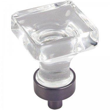Jeffrey Alexander Harlow 1'' OL Glass Square Cabinet Knob - G140DBAC - Brushed Oil Rubbed Bronze