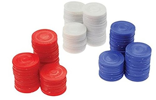 Plastic Chips - Red, White & Blue (200 Each) - Poker Bingo Card Game Counting Marker by U.S. Toy Co Constructive Playthings