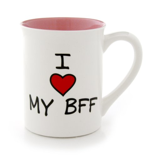 Our Name Is Mud 16-Ounce 'I Heart My BFF' Mug by Lorrie Veasey, 4.5-Inch