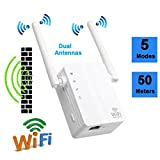 Tiean 300Mbps Wireless-N Range Extender WiFi Repeater Signal Booster Network Router (White)