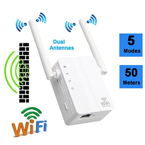 Tiean 300Mbps Wireless-N Range Extender WiFi Repeater Signal Booster Network Router (White) by Tiean