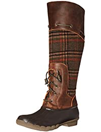 Women's Saltwater Sela Brown Wool Plaid Rain Boot