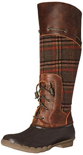 Sperry Top-Sider Women's Saltwater Sela Brown Wool Plaid Rain Boot, Brown/Plaid, 6 M US