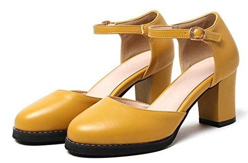 Aisun Donna Semplice Moda Punta Rotonda Elegante Inarcato Grosso Tacco Medio Sandali Dorsay Con Cinturino Alla Caviglia Giallo