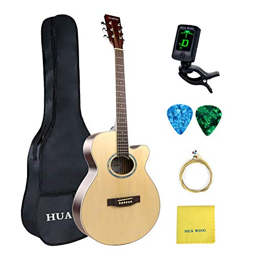 HUAWIND 40in Acoustic Guitar 6 Steel Strings Cutaway Acoustic Guitar Beginner Kit with Gig Bag Tuner Strings Strap Picks Polishing Cloth