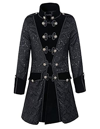 Men's Steampunk Clothing, Costumes, Fashion Mens Black Gothic Brocade Jacket Frock Coat Steampunk VTG Victorian  AT vintagedancer.com