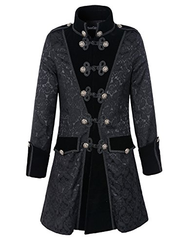 DarcChic Mens Black Gothic Brocade Jacket Frock Coat Steampunk VTG Victorian (L, Black) ()