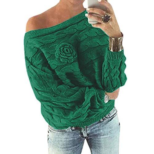 Hellomiko Pullover girocollo in maglia intrecciata a maniche lunghe con motivo floreale a pipistrello frontale in 3D Verde