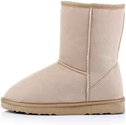 0a690643f Bumud Women's Fur Lined Mid-calf Snow Boots Faux Suede Winter Warm Shoes