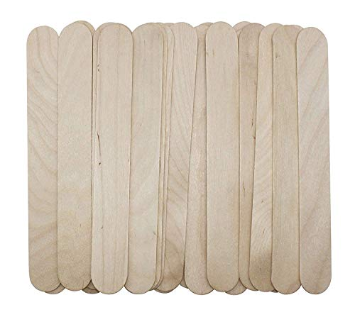 Natural Jumbo Wood Finish Craft Stick,Simply Art Wood Craft Sticks Wood Tongue Depressors Sticks,6 Inch (100 Pcs)