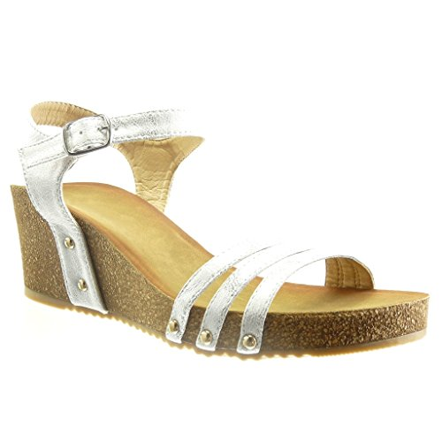 Angkorly Women's Fashion Shoes Sandals - Platform - Open - Studded - Cork - Shiny Wedge Platform 6 cm Silver