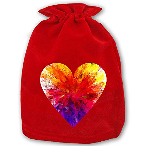 Christmas Drawstring Gift Bags 1 Pack Large Santa Sack Colorful Prismatic Rainbow Gem Ruby Bag Purse for Christmas Party Favors and ()