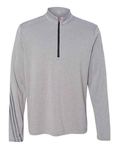 Adidas Golf Mens Golf Brushed Terry Heather Quarter-Zip A274 -MID GRY HTR/ 3XL