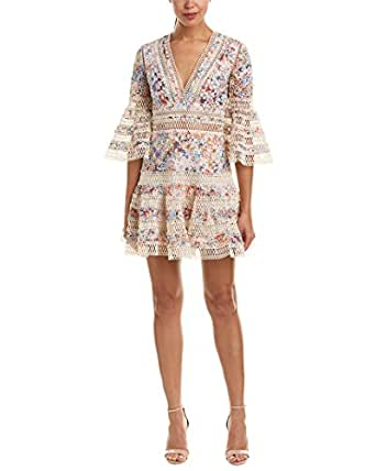 FEW MODA Womens Lace A-Line Dress, M, White