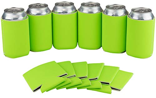 12 Can Sleeves - Beer Coolies for Bottles and Cans - Bulk Blank Drink Coolers - DIY Custom Wedding Favor, Funny Party Gift (Neon Green, 12) -