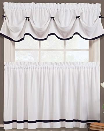 Kate Elegance Kitchen Curtain Tier Pair (57u0026quot; X 36u0026quot;)   White With