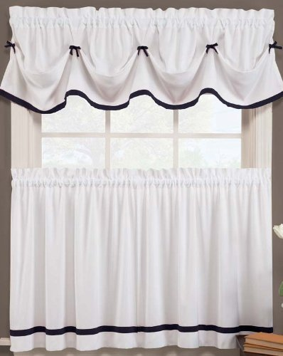 Beau Kate Elegance Kitchen Curtain Tier Pair (57u0026quot; X 36u0026quot;)   White With