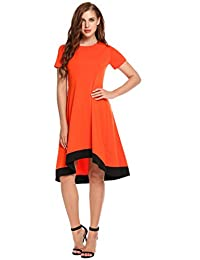 Meaneor Short Sleeve Casual T-Shirt Dress O Neck Patchwork Tops