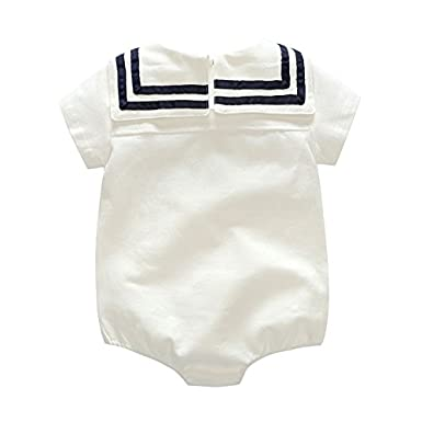 ZIYOYOR Newborn Baby Girl Boy Cotton Romper Infant Toddlers Long Sleeve Marine Sailor Jumpsuit with Hat