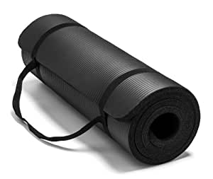 Spoga Premium Extra Thick 71-Inch Long High Density Exercise Yoga Mat with Comfort Foam and Carrying Straps, Black